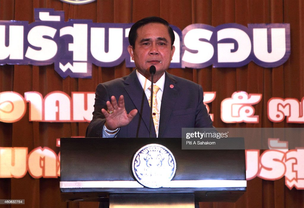 Prime Minister Prayut Chan-o-cha during his delivery of a statement on the government's 3 months work September-October-November as the Government in Bangkok. A general election to return Thailand to democracy after a military coup in May will be held in February 2016 at the earliest, a deputy prime minister said on 23 Dec.