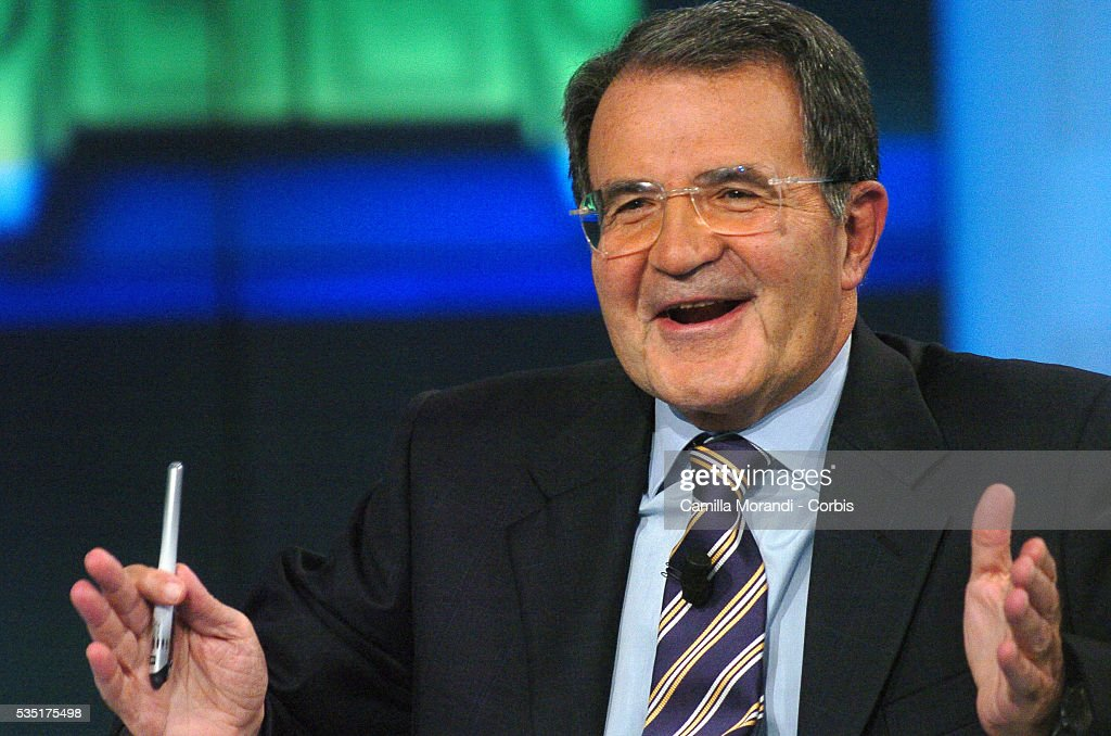 Prime Minister Romano Prodi during the recording of the talk show of Rai Uno ' Porta a porta'