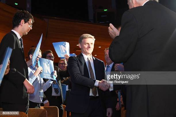Prime Minister Rt Hon Bill English arrives at the National Party 81st Annual Conference at Michael Fowler Centre on June 25 2017 in Wellington New...