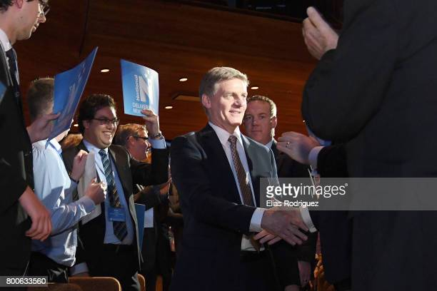 Prime Minister Rt Hon Bill English arrives to the National Party 81st Annual Conference at Michael Fowler Centre on June 25 2017 in Wellington New...
