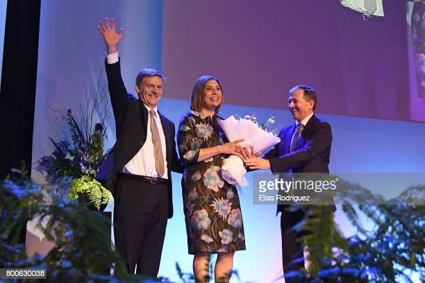 Prime Minister Rt Hon Bill English arrives with Dr Mary Scanlon at the National Party 81st Annual Conference at Michael Fowler Centre on June 25 2017...