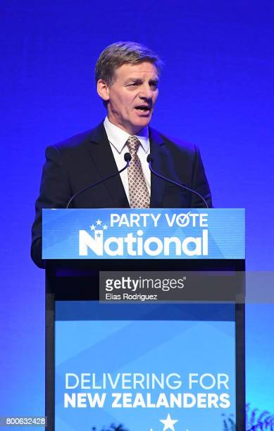 Prime Minister Rt Hon Bill English speaks during the National Party 81st Annual Conference at Michael Fowler Centre on June 25 2017 in Wellington New...