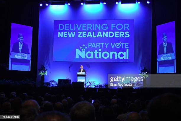 Prime Minister Rt Hon Bill English speaks to crowd during the National Party 81st Annual Conference at Michael Fowler Centre on June 25 2017 in...