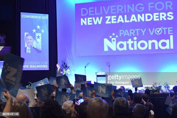 Prime Minister Rt Hon Bill English waves to crowd during the National Party 81st Annual Conference at Michael Fowler Centre on June 25 2017 in...