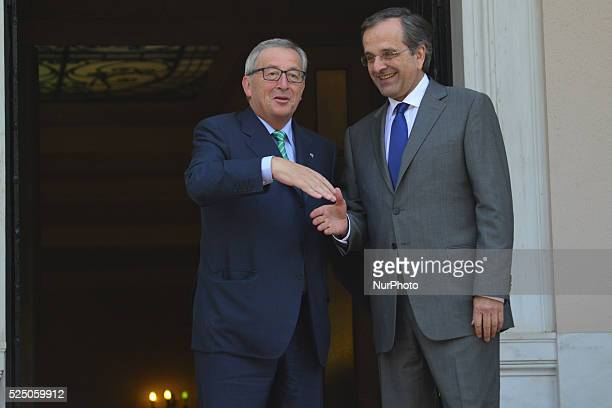 Prime minister Samaras and EUCommission President Juncker in the office of the Greek PM in Athens on August 4 2014