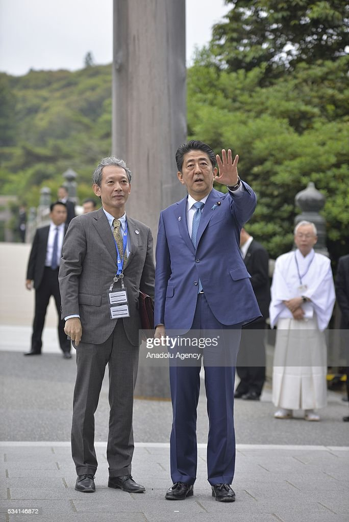 Prime Minister Shinzo Abe, accompanied by Mr Takizaki Shigeki, Head of secretariat of the Ministry of foreign affairs, visits the Ise Jingu (Shrine) on May 25, 2016 in Ise, Mie Prefecture, Japan.
