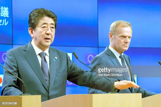 Prime Minister Shinzo Abe and European Council President Donald Tusk attend a press conference following the EUJapan Summit on July 6 2017 in...