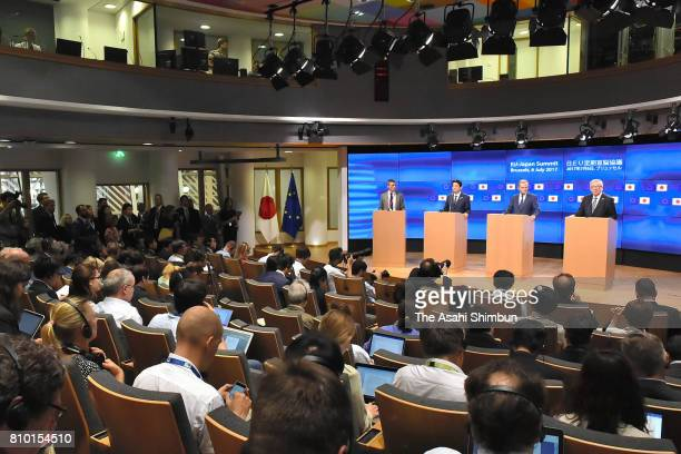 Prime Minister Shinzo Abe and European Council President Donald Tusk and European Commission President JeanClaude Junker attend a press conference...