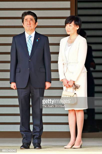 Prime Minister Shinzo Abe and his wife Akie attend the welcome ceremony for King Felipe VI and Queen Letizia of Spain at the Imperial Palace on April...