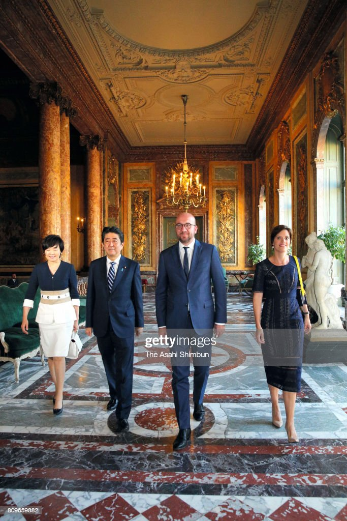Prime Minister Shinzo Abe (2nd L) and his wife Akie (1st L) walk with Belgium Prime Minister Charles Michel (2nd R) and his partner Amelie Derbaudrenghien (1st R) prior to their dinner at the Egmont Palace on July 5, 2017 in Brussels, Belgium. Abe is on 8-day tour to Europe to attend the G20 Summit in Germany and visit to Belgium, Sweden, Finland, Denmark and Estonia.