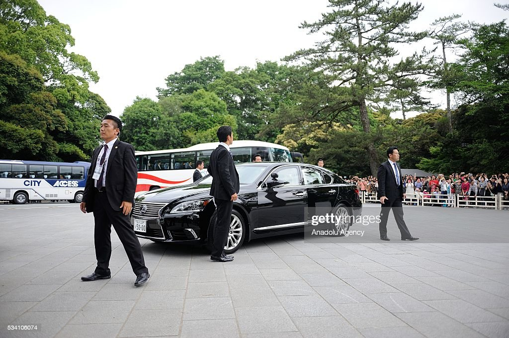 Prime Minister Shinzo Abe arrives at the Ise Jingu (Shrine) on May 25, 2016 in Ise, Mie Prefecture, Japan.