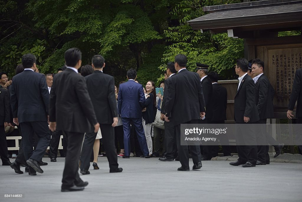 Prime Minister Shinzo Abe greets people as he visits the Ise Jingu (Shrine) on May 25, 2016 in Ise, Mie Prefecture, Japan.