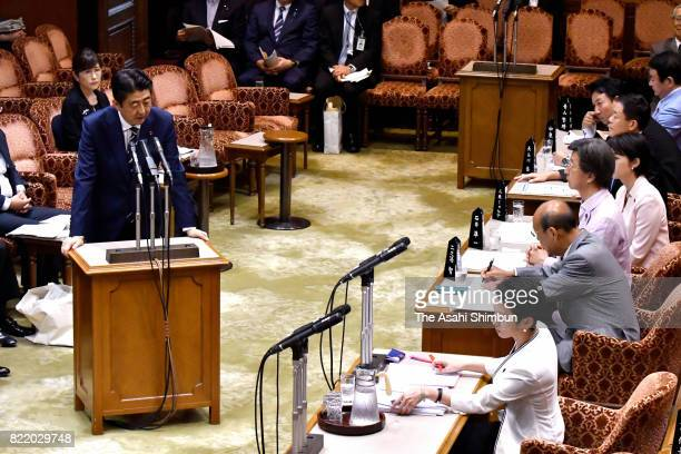 Prime Minister Shinzo Abe responds to the qustions by opposition Democratic Party leader Renho during the Upper House Budget Committee on July 25...