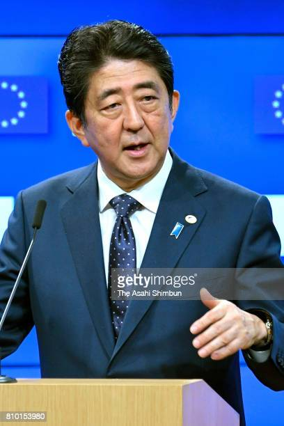Prime Minister Shinzo Abe speaks during a press conference following the EUJapan Summit on July 6 2017 in Brussels Belgium The European Union and...