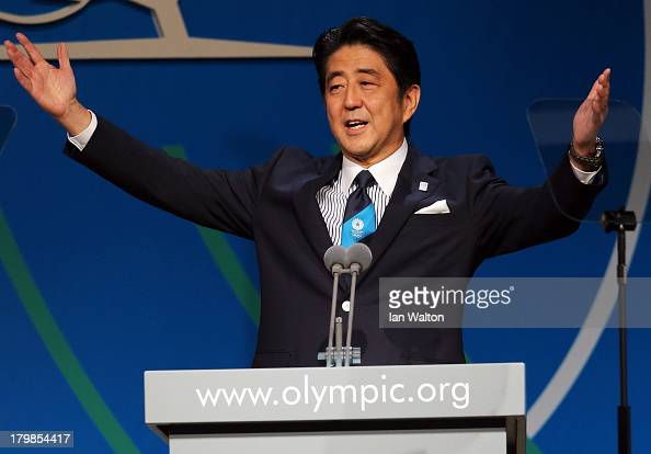 Prime Minister Shinzo Abe speaks during the Tokyo 2020 bid presentation during the 125th IOC Session 2020 Olympics Host City Announcement at Hilton...