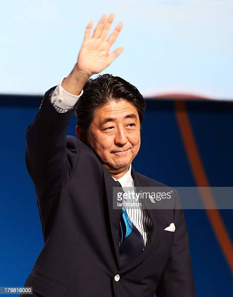 Prime Minister Shinzo Abe waves during the Tokyo 2020 bid presentation during the 125th IOC Session 2020 Olympics Host City Announcement at Hilton...