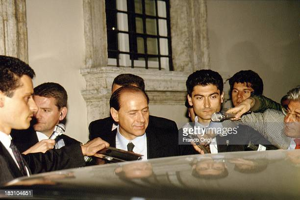 Prime Minister Silvio Berlusconi leaves after the inauguration of his first government at the Quirinale on May 11 1994 in Rome Italy