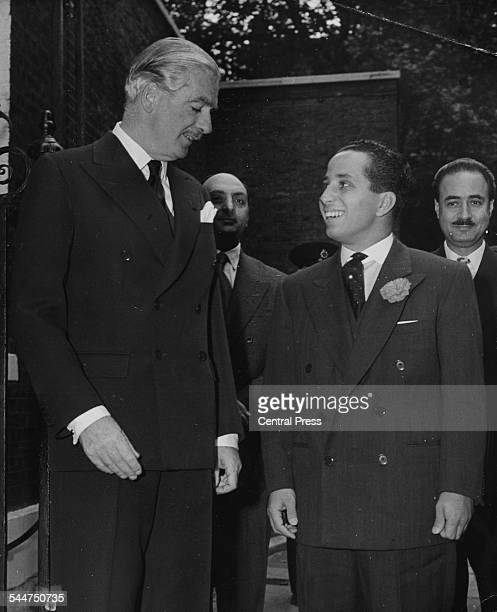 Prime Minister Sir Anthony Eden and King Faisal II of Iraq at 10 Downing Street London October 5th 1955