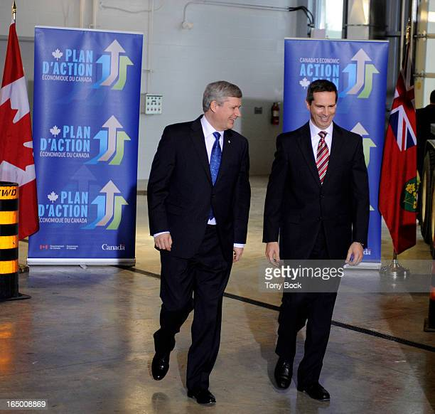 APRIL07 2010 Prime MInister Stephen Harper and Premier Dalton McGuinty enter a press conference announcing funding support for 43 provincial road and...