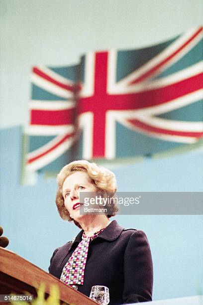 Prime Minister Thatcher gives her closing speech at the Conservative Party Conference following the IRA bombing of a Brighton hotel