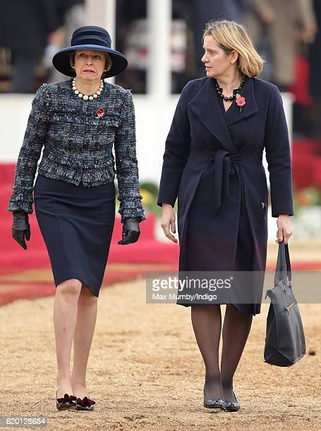 Prime Minister Theresa May and Home Secretary Amber Rudd attend the Ceremonial Welcome for the President of Colombia at Horse Guards Parade on...
