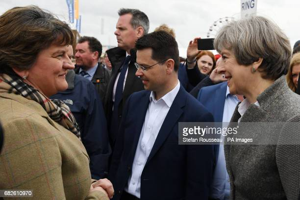 Prime Minister Theresa May and Northern Ireland Secretary James Brokenshire meet Democratic Unionist Party leader Arlene Foster during a visit to the...