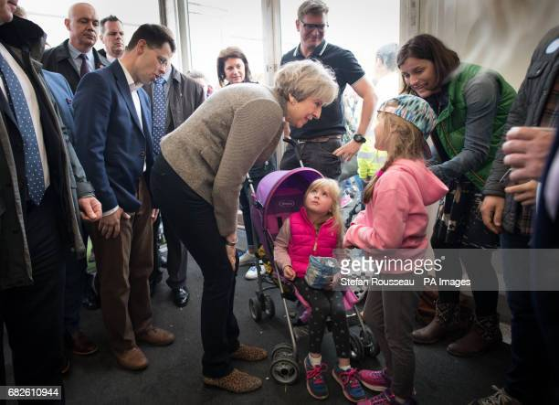 Prime Minister Theresa May and Northern Ireland Secretary James Brokenshire visiting the Balmoral Show near Lisburn in Northern Ireland where they...