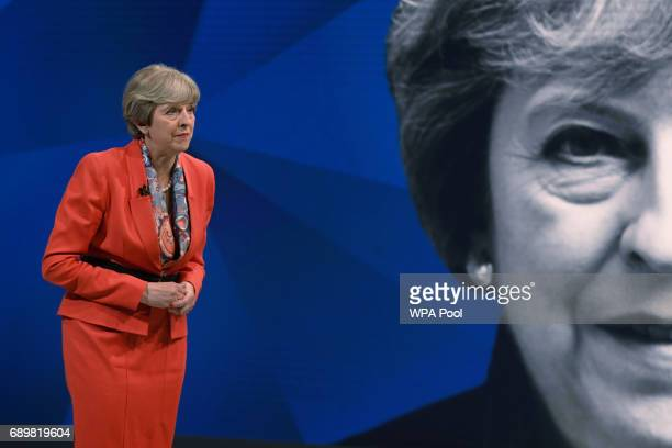 Prime Minister Theresa May answers questions from the studio audience during a joint Channel 4 and Sky News general election programme 'May v Corbyn...