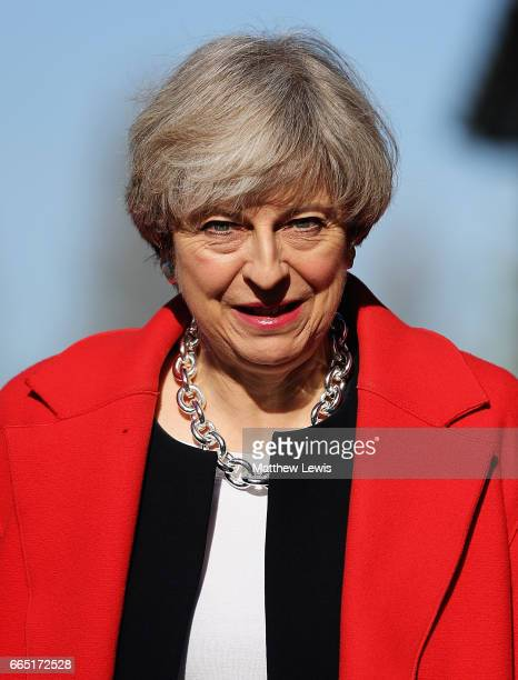 Prime Minister Theresa May arrives as she Launches The Conservative Party Local Election Campaign at Calverton Village Hall on April 6 2017 in...