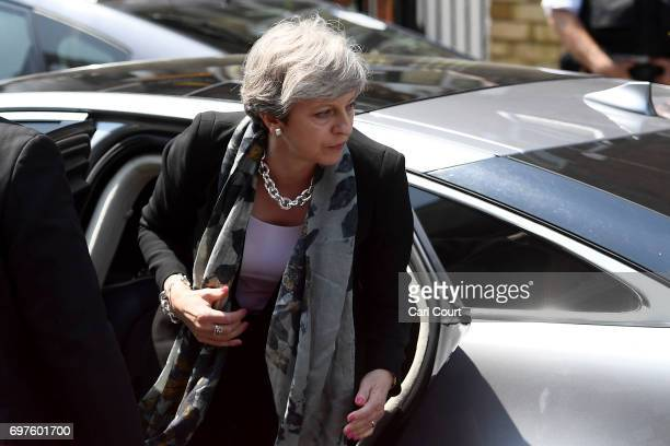 Prime Minister Theresa May arrives at Finsbury Park mosque near the scene of a terror attack in the early hours of this morning on June 19 2017 in...