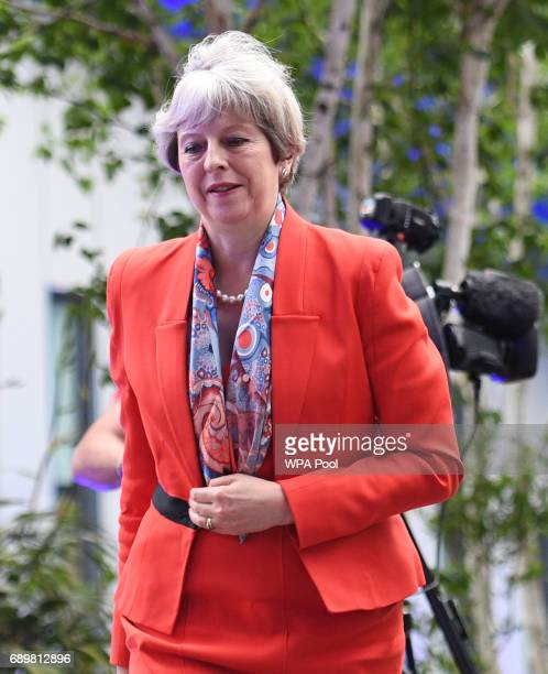 Prime Minister Theresa May arrives at Sky studios in Osterley west London to take part in a joint Channel 4 and Sky News general election programme...