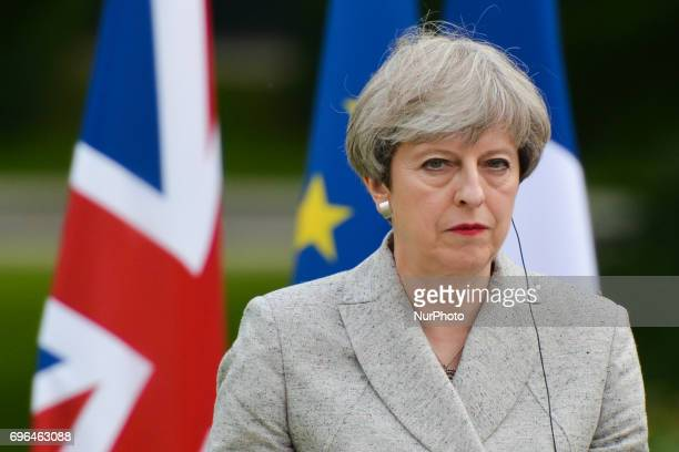 Prime Minister Theresa May at the press conference with French President Emmanuel Macron at The Elysee Palace On Tuesday June 13 in Paris France