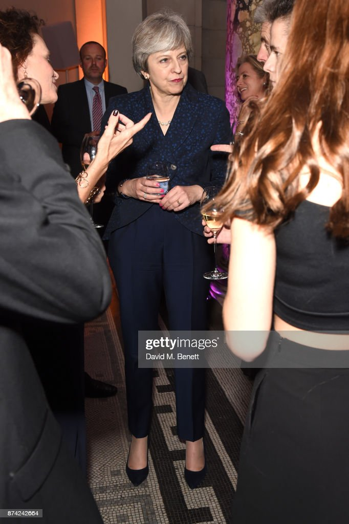 Prime Minister Theresa May attends The Sugarplum Dinner 2017 in aid of type 1 diabetes charity JDRF at The V&A on November 14, 2017 in London, England.