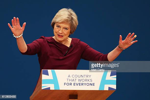 Prime Minister Theresa May delivers a speech during the fourth day of the Conservative Party Conference 2016 at the ICC Birmingham on October 5 2016...