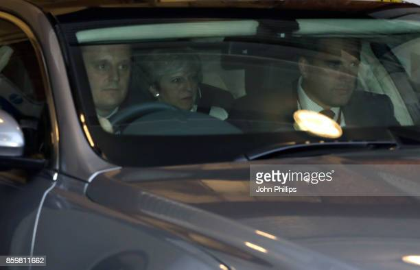 Prime Minister Theresa May departs LBC Radio on October 10 2017 in London England During the interview with Iain Dale Theresa May refused to answer...