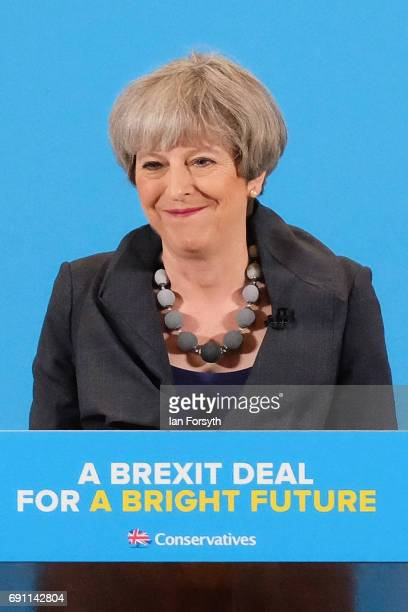 Prime Minister Theresa May gives a speech to party supporters at a plant machinery manufacturing firm on June 1 2017 in Guisborough United Kingdom...