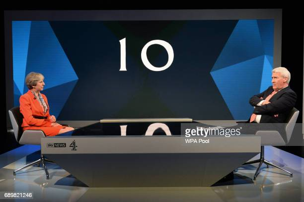 Prime Minister Theresa May is interviewed by Jeremy Paxman during a joint Channel 4 and Sky News general election programme 'May v Corbyn Live The...