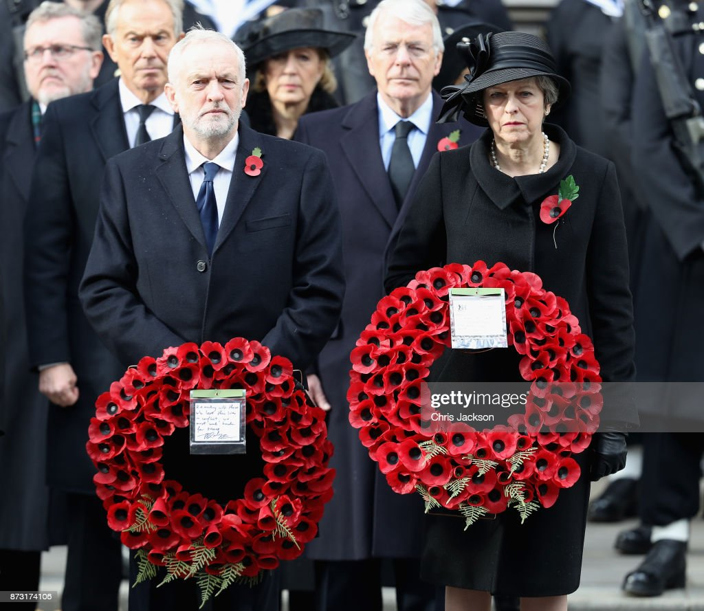 Prime Minister Theresa May, John Major, Labour leader Jeremy Corbyn stand in front of Tony Blair and John Major during the annual Remembrance Sunday memorial on November 12, 2017 in London, England. The Prince of Wales, senior politicians, including the British Prime Minister and representatives from the armed forces pay tribute to those who have suffered or died at war.