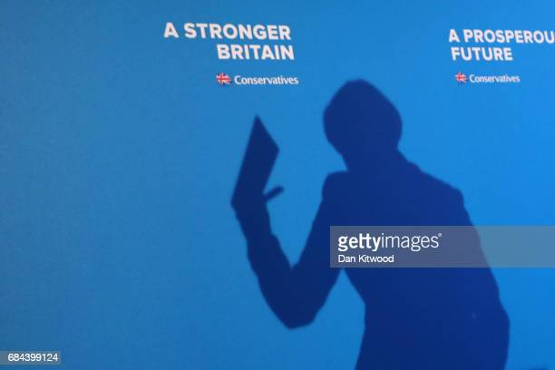 Prime Minister Theresa May launches the Conservative Party Election Manifesto on May 18 2017 in Halifax United Kingdom The Conservative Party...