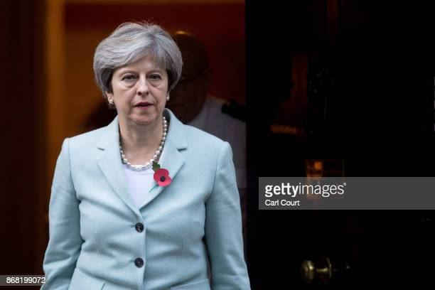Prime Minister Theresa May leaves 10 Downing Street for the House of Commons on October 30 2017 in London England Following allegations of sexual...