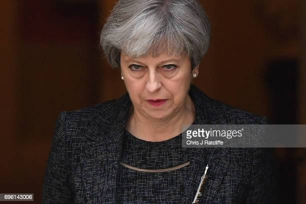 Prime Minister Theresa May leaves 10 Downing Street on June 15 2017 in London England