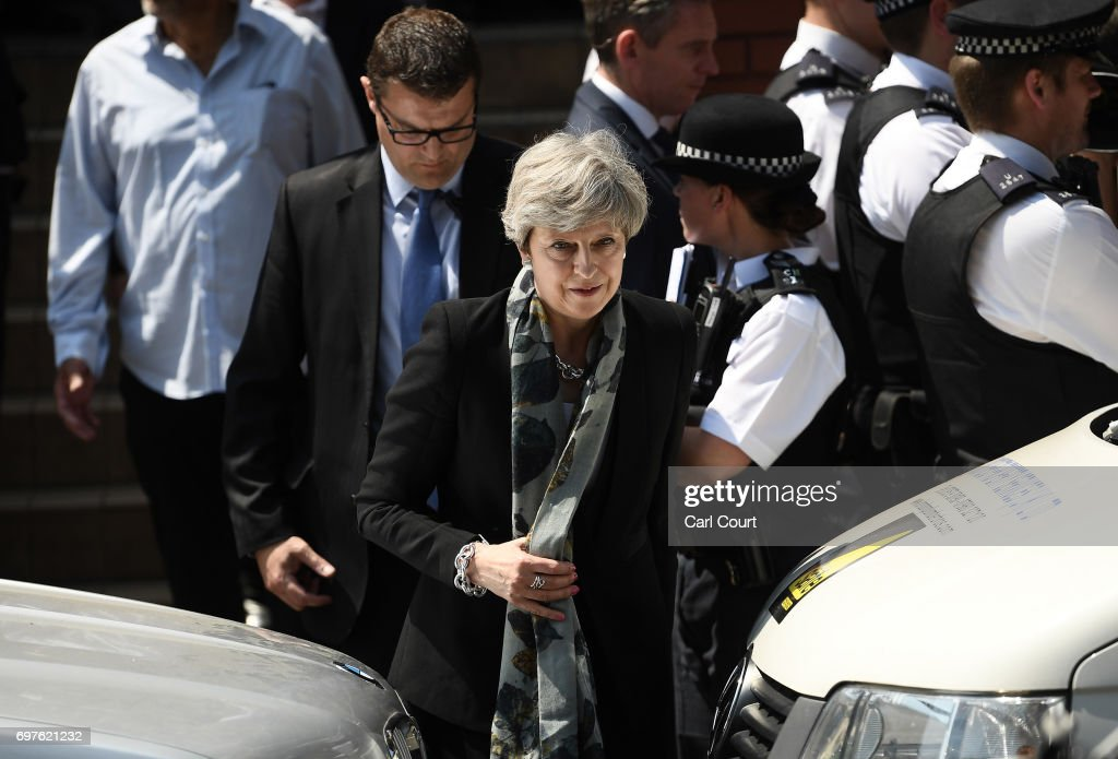 Prime Minister Theresa May leaves after visiting Finsbury Park mosque near the scene of a terror attack in the early hours of this morning, on June 19, 2017 in London, England. Worshippers were struck by a hired van as they were leaving Finsbury Park mosque in North London after Ramadan prayers. One person was killed in the terror attack with a further 10 people injured.