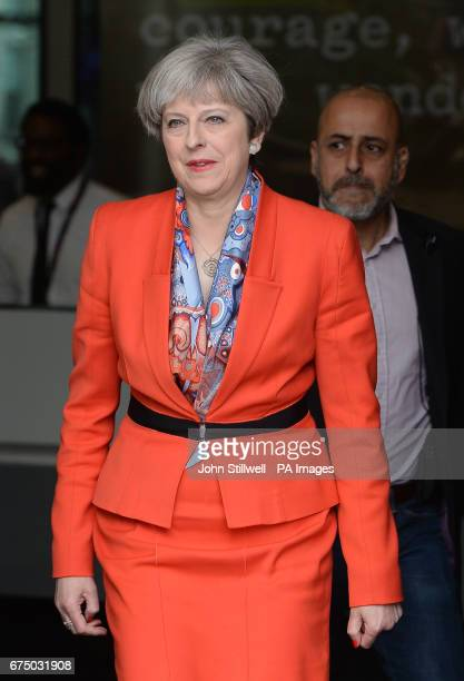 Prime Minister Theresa May leaves BBC Broadcasting House in London after appearing on The Andrew Marr Show
