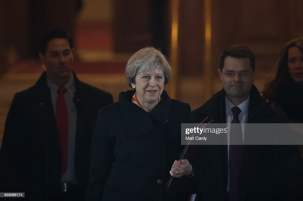 Prime Minister Theresa May leaves Cardiff City Hall following a joint ministerial committee (JMC) which includes the leaders from Westminster, Cardiff, Edinburgh and Belfast on January 30, 2017 in Cardiff, Wales. The Prime Minister visit to Cardiff today is the first meeting of the Joint Ministerial Committee since she announced her intention to negotiate a 'hard' Brexit.