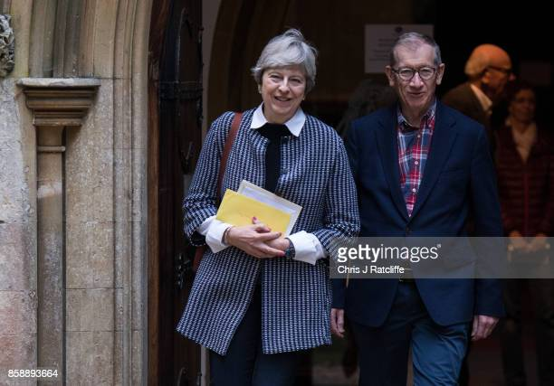 Prime Minister Theresa May leaves St Andrew's Church after Sunday morning mass with her husband Philip May in her constiituency of Maidenhead on...