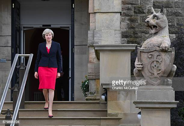 Prime Minister Theresa May leaving Stormont Castle after meeting with Northern Ireland first minister Arlene Foster and deputy first minister Martin...