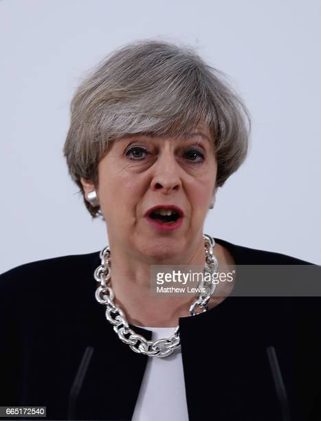 Prime Minister Theresa May makes a speech as she Launches The Conservative Party Local Election Campaign at Calverton Village Hall on April 6 2017 in...
