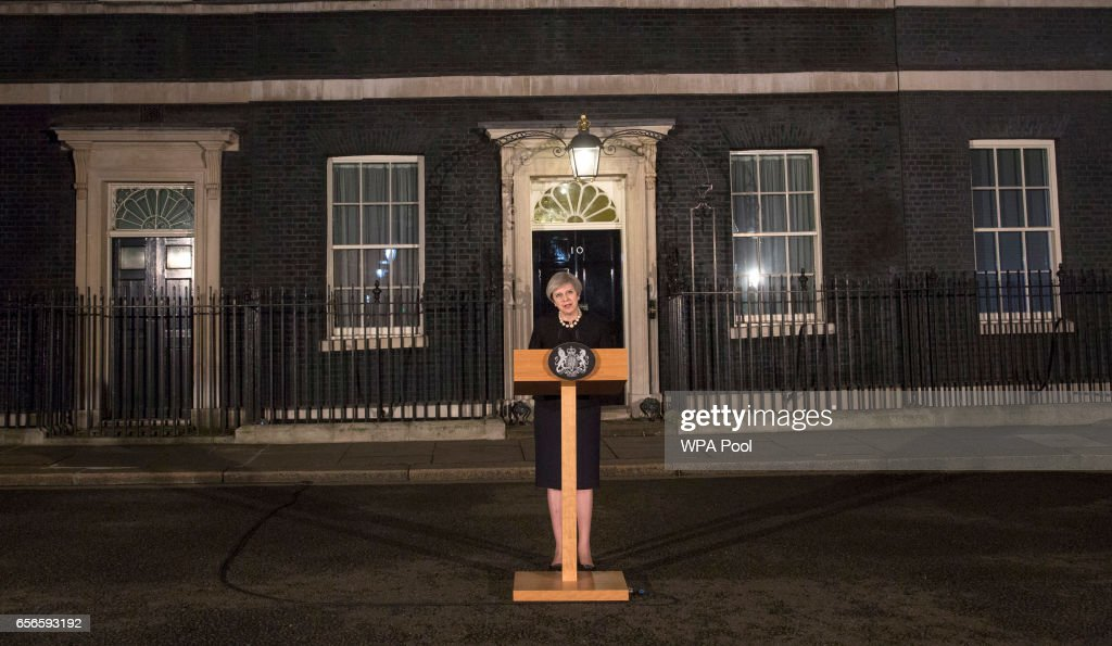 Prime Minister Theresa May makes a statement in Downing street following the terrorist incident in westminster on March 22, 2017 in London, England. Four people including a police officer and his attacker have been killed in two related incidents outside the Houses of Parliament and on Westminster Bridge in what Scotland Yard are treating as a terrorist incident.