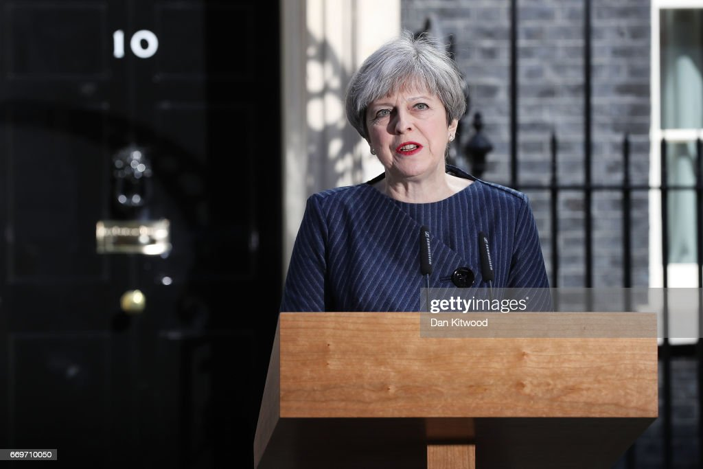 Prime Minister Theresa May makes a statement to the nation in Downing Street on April 18, 2017 in London, United Kingdom. The Prime Minister has called a general election for the United Kingdom to be held on June 8, the last election was held in 2015 with a Conservative party majority win.