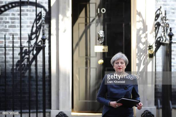 Prime Minister Theresa May makes a statement to the nation in Downing Street on April 18 2017 in London United Kingdom The Prime Minister has called...